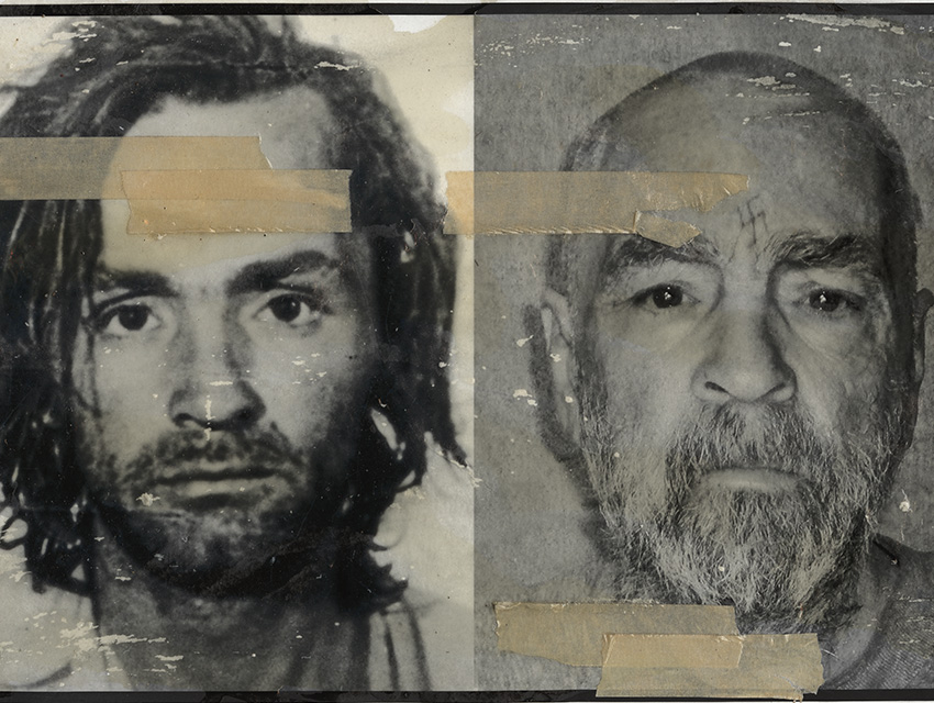 Charles Manson under arrest in 1969 (left) and in prison in 2009
