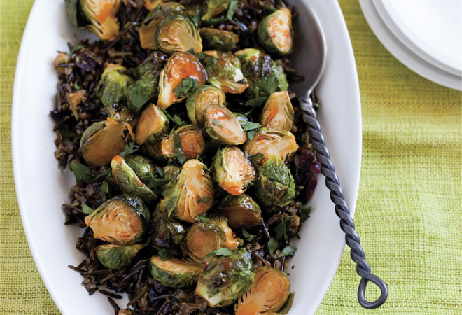 Recipe: Maple-Sriracha Brussels Sprouts with Cranberry Wild Rice Los Angeles Magazine