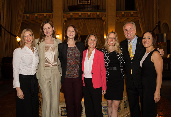 Los Angeles magazine Publisher Erika Anderson, actor Geena Davis, First Lady Amy Elaine Wakeland, Mount St. Mary's College President Ann McElaney-Johnson, Los Angeles magazine Editor-in-Chief Mary Melton, Councilman Tom LaBonge and Mayor Eric Garcetti's Chief of Staff Ana Guerrero