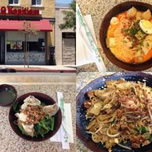 Clockwise from top: storefront, laksa, char kway teow, and dry wonton noodle