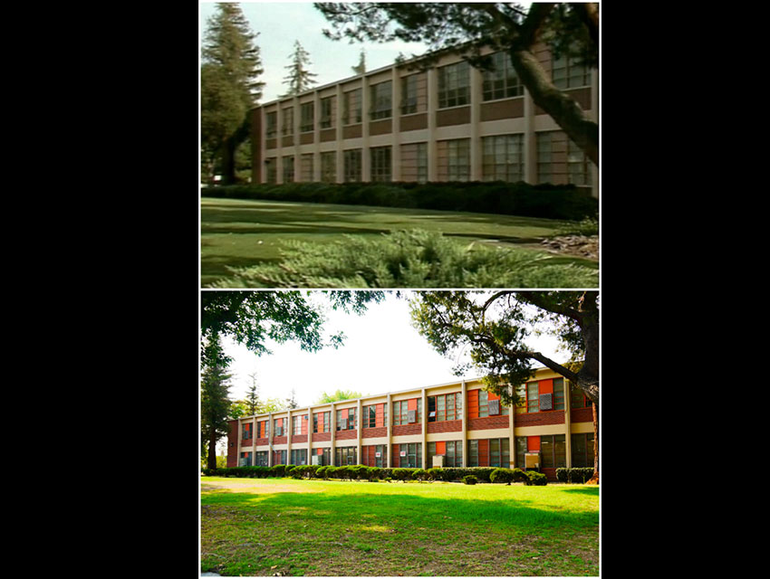 Top, a screen capture from a Season 1 episode of Saved by the Bell; bottom, a photograph of Grant High School taken in July 2014, courtesy of Lindsay Blake.