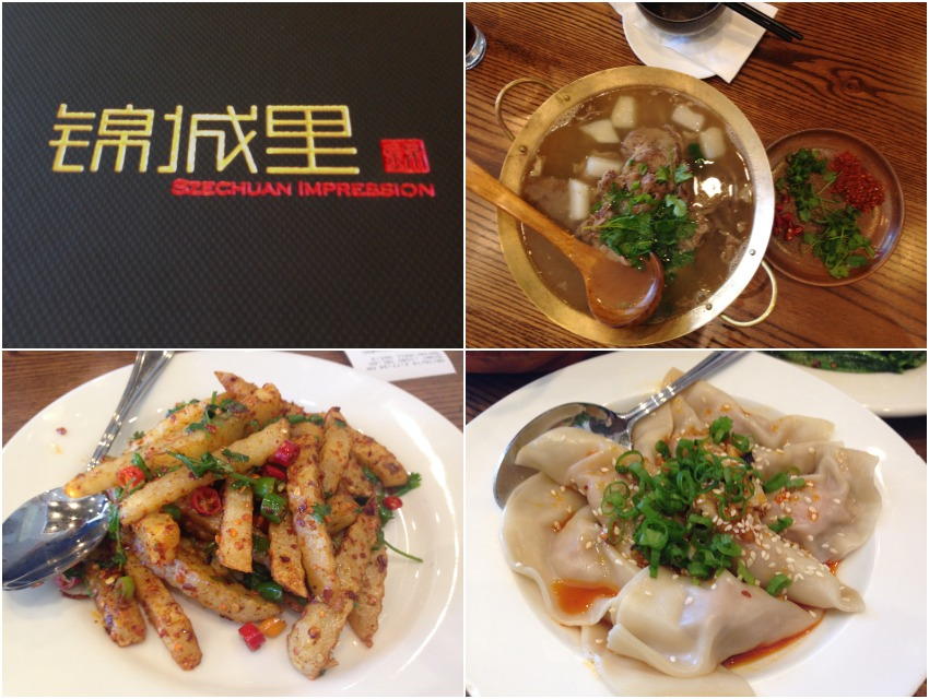 "Clockwise from top: QianJiao Beef, Hou Dao Dumplings, ""Potato Strips on Street Corner"""