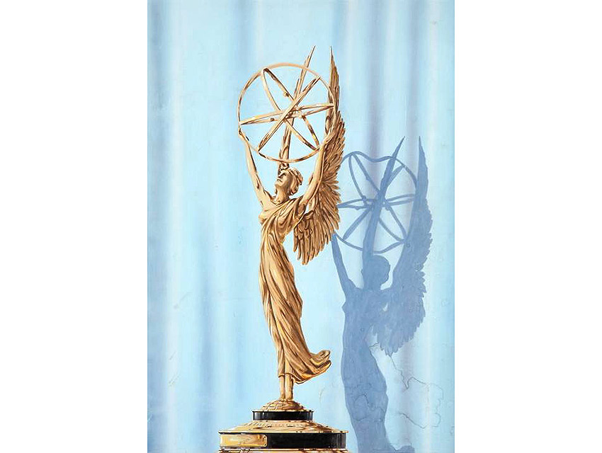 A watercolor rendering of Louis McManus's original Emmy design (1948).