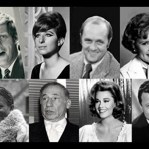 Clockwise from top left: Robert Morse, Barbra Streisand, Bob Newhart, Betty White, Steve Lawrence, Jane Fonda, Mel Brooks, Cicely Tyson.
