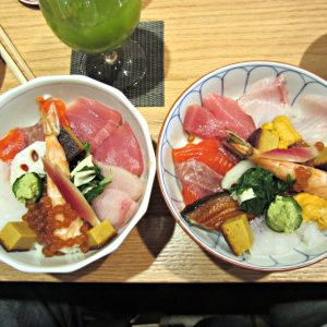Left, Bara-Chirashi ($15); Right, Sashimi Bowl ($25)
