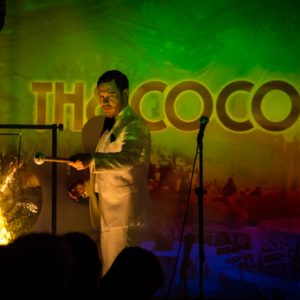Darren Herczeg mans the gong at The Coconut Club