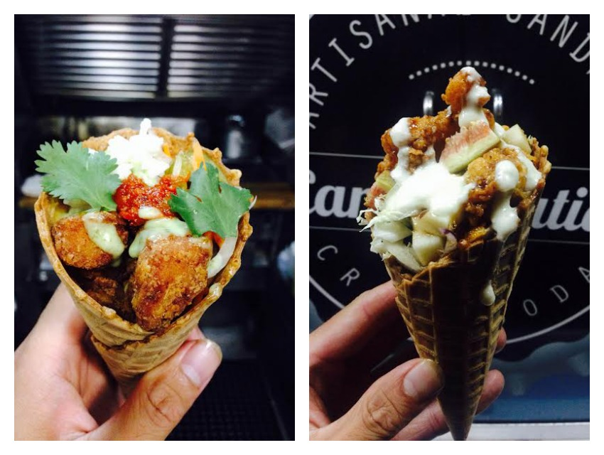 Fried chicken waffle cones from Carb & Nation