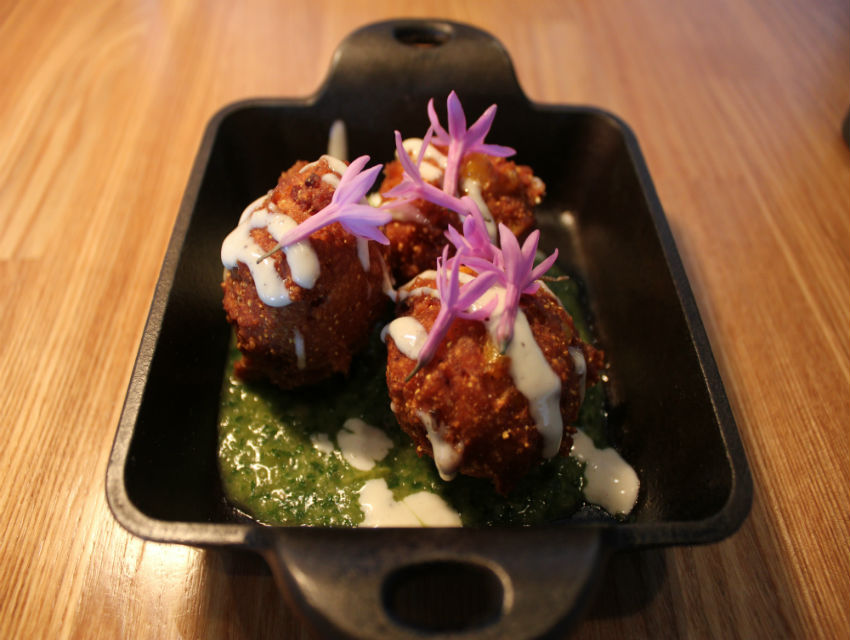 Hush puppies with Hatch chile chimichurri at Plan Check
