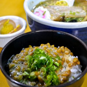 Natto over rice with shoyu ramen at Santouka.