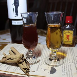 Melrose Umbrella Co.'s housemade cinnamon whiskey and Fireball.