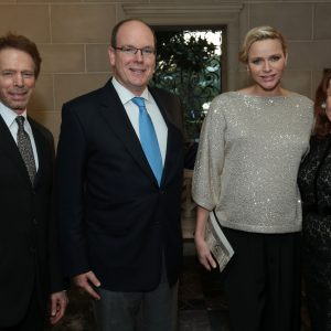 Jerry Bruckheimer, Prince Albert II, Princess Charlene, and Linda Bruckheimer at Greystone Mansion