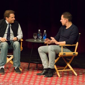 Peter Guber (left) an Peter Thiel (right) at Live Talks Los Angeles on Oct. 2, 2014