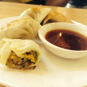Kabocha pumpkin potstickers at Pine & Crane