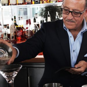 Legendary bartender Salvatore Calabrese showing perfect form.