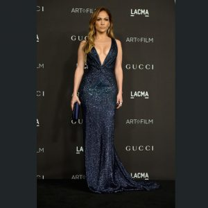 Jennifer Lopez in a Gucci Premiere navy blue silk georgette gown