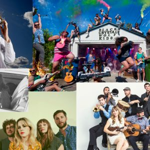 Clockwise from top-right: Black Crystal Wolf Kids, Dust Bowl Revival, Banta Band, Jenny- O , Chrome Canyon