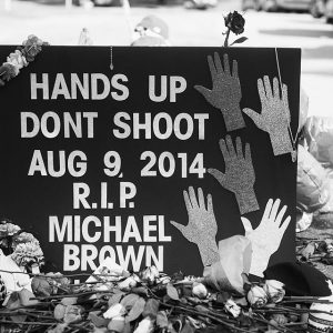 A makeshift memorial following the death of Michael Brown Jr.