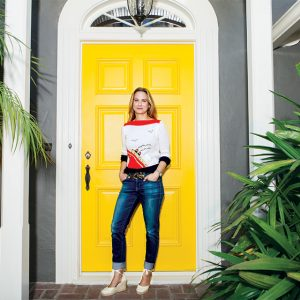 Shipshape: Amy Sklar wears a sweater her mother would pair with flared jeans and platform shoes in the 1970s
