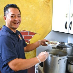 Principal Long Nguyen treats his teachers to his special pho