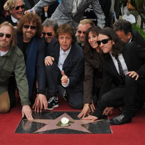 APRIL 14, 2009: Paul McCartney with Olivia Harrison & Dhani Harrison, Tom Petty & Jeff Lynne at Hollywood Walk of Fame star ceremony honoring the late George Harrison
