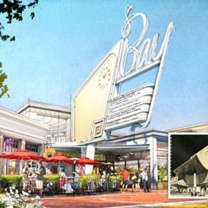 Bay Theater rendering proposed for the next chapter of Swarthmore Avenue, inset with a historical Bay Theater rendering dug up from architect S. Charles Lee that was originally intended in 1948.