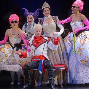 Katie Bradley as Florina, Catherine E Coulson as Cinderella's Stepmother, Jennie Greenberry as Cinderella, Christiana Clark as Lucinda and Jeremy Peter Johnson as Cinderella's Prince