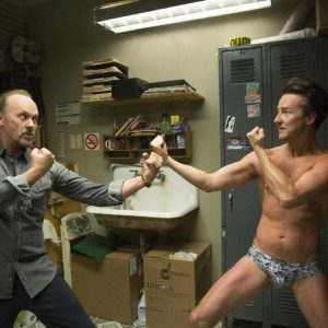 "Michael Keaton and Ed Norton spar in ""Birdman"""