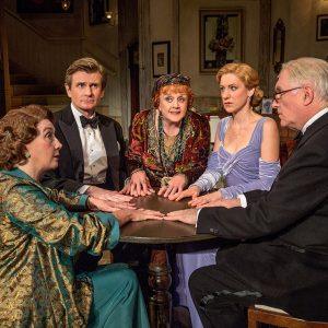 "Susan Louise O'Connor (standing), Sandra Shipley, Charles Edwards, Angela Lansbury, Charlotte Parry and Simon Jones in the North American tour of Noël Coward's ""Blithe Spirit"""