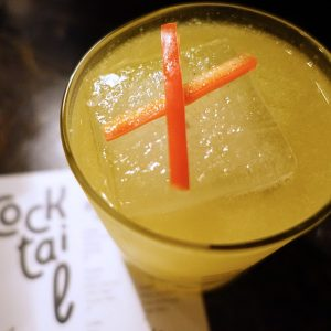 French Margarita: Mezcal, yellow chartreuse, yellow pepper, lemon, smoked salt, firewater bitters