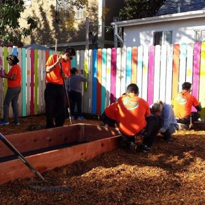 Volunteers install the Eastmont Community Center garden