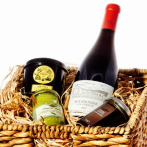 Gift baskets, with French wine and products, start at $85.99.