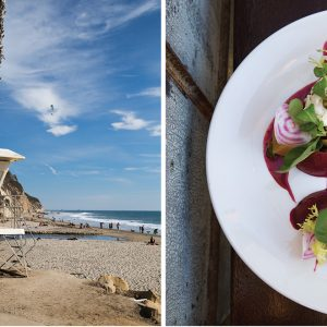 From left: The view south of the Boat- house at Hendry's Beach; roasted beets and burrata at the Lark