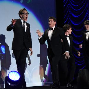 Actors Benedict Cumberbatch, Allen Leech, Alex Lawther and Matthew Beard accept the Ensemble Performance Award onstage