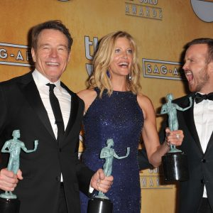 Bryan Cranston, Anna Gunn, and Aaron Paul at the Screen Actors Guild Awards in 2014