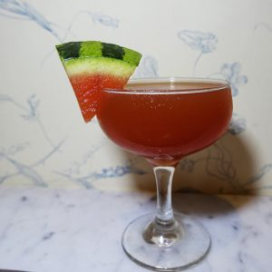 Friendly Fire: Fidencio Mezcal, Ancho Reyes, Cynar, lemon, tomato juice, watermelon syrup, Chesapeake Bay Bitters