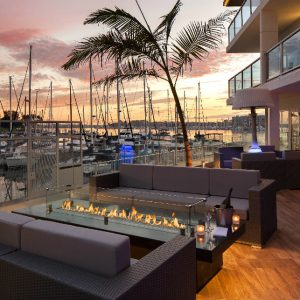 The Marina del Rey's  Hotel's Salt restaurant offers indoor and outdoor dining on the waterfront.