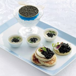 Get a taste of Golden Globes luxury with Petrossian caviar.