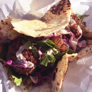 The falafel sandwich from Dune comes on made-to-order pita bread