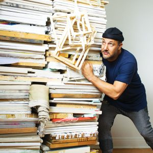 "Art Dealer Stefan Simchowitz with ""Untitled Stack"" by Zachary Armstrong"