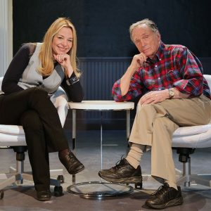 "Alison Martino and Dick Cavett on the set of ""Hellman v. McCarthy"""