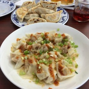Huaen serves spicy wontons, pork dumplings, and fried squid balls.