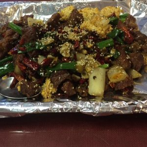 "This is the ""small"" order of Huolala's Sauteed Lamb with Pepper."