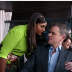 Mindy Kaling and Matt Damon star in Nationwide's Super Bowl ad.