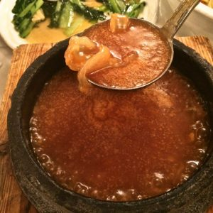 Shanghai No. 1 Seafood Village serves Braised Shark's Lip with Abalone Sauce.