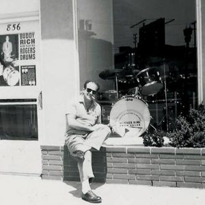Pro Drum Shop founder Bob Yeager in front of the store in the early '60s