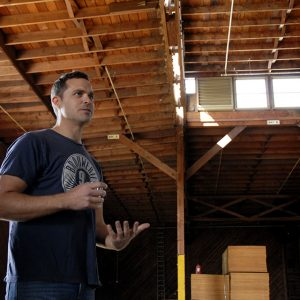 Brouwerij West's Brian Mercer at the brewery's new home, a warehouse at the Port of Los Angeles