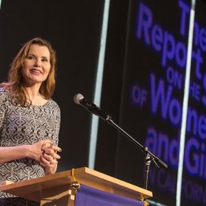 Geena Davis at the release of the Report on the Status of Women and Girls in California