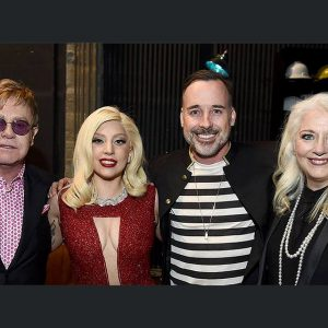 Sir Elton John, Lady Gaga, David Furnish, and Lady Gaga's mother Cynthia Germanotta