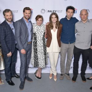 Executive producer Jenni Konner, moderator Judd Apatow, Andrew Rannells, creator/executive producer Lena Dunham, Allison Williams, Alex Karpovsky, with executive producers Bruce Eric Kaplan and Ilene S. Landress at PaleyFest LA 2015