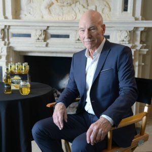 Patrick Stewart filmed a new commercial for Strongbow.